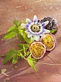 Passion fruit (purple) with passion flower