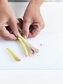 Peeling lemon grass