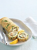 Spinach roulade, partly sliced