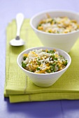 Rice, carrot and pea salad