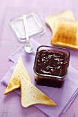 Plum jam and toast