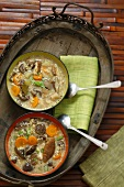 Mushroom soup with carrots and barley