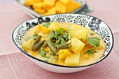 Pumpkin curry with pineapple and beans