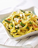 Home-made fettuccine with vegetables and crabmeat
