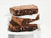 Chocolate cream cake, three slices