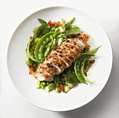 Chicken breast with mangetout