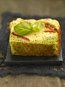 A piece of basil cake