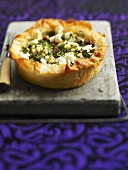 Spinach, feta and pine nut tart made with filo pastry