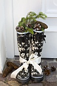 Rubber boots filled with spruce twigs and cones