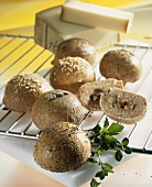 Savoury bread rolls made with graham flour