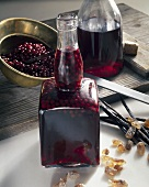 Home-made elderberry liqueur
