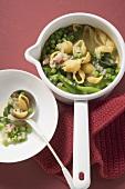Green noodle soup