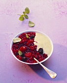 Red berry compote with custard