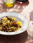 Pappardelle al cinghiale (Ribbon pasta with wild boar sauce)