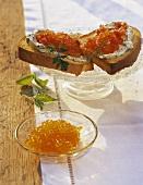 Bruschette al caviale (Caviar and tomato crostini, Italy)