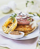 Pancakes with grilled ham, pineapple and mustard