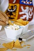 Nachos with soft cheese dip