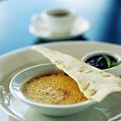 Crème brûlée with almond wafer