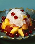 Nectarine and redcurrant salad with granita