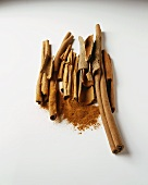 Still life with cinnamon sticks and ground cinnamon