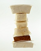 Various types of tofu in packaging