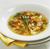Vegetable soup with knuckle of pork and spring onion