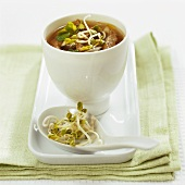 Thai soup with beef and sprouts