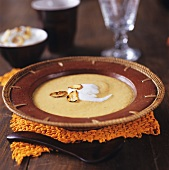 Cream of carrot and chestnut soup