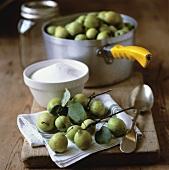 Ingredients for jam making: crab apples and preserving sugar