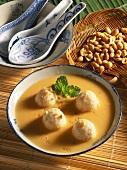 Coconut soup with shrimp dumplings