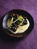 Chocolate terrine with lemon cream