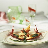 Freshwater crayfish with dill pesto