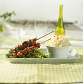 Crayfish tail skewers and rice