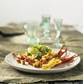 Crayfish au gratin with Caesar salad