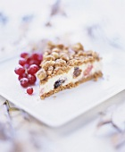 Mincemeat cheesecake garnished with redcurrants
