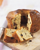 Raisin ring cake, partly sliced