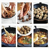 Making meatball tagine with tomato sauce and eggs (Morocco)