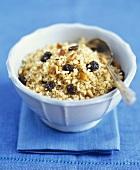 Bulgur pilau with raisins and pine nuts
