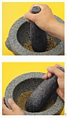 Grinding spices with a mortar and pestle