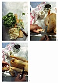 Preparing poularde with Swiss chard