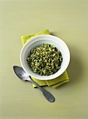 Spinach rice with mint and caraway
