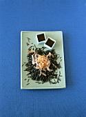 Wild rice salad with smoked salmon