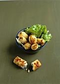 Nems (deep-fried spring rolls, Vietnam) with chicken filling