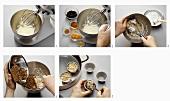 Making black bread pudding