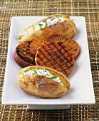 Baked potatoes with quark & chives & grilled sweet potato slices