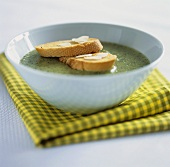 Cream of leek soup with toast
