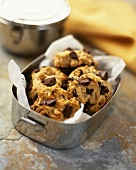 Chocolate chip cookies in metal container