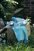 Picnic hamper in garden