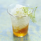 Elderflower sorbet with elderflower honey