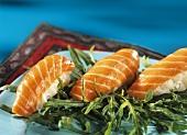 Salmon nigiri sushi on rocket
